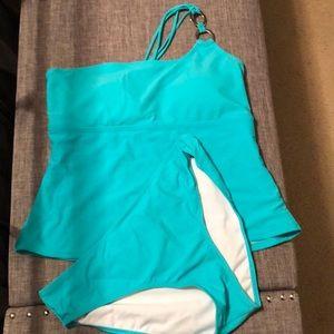 One shoulder tankini swim